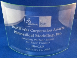 Photo of BMI's SOLIDWORKS Solution Award.