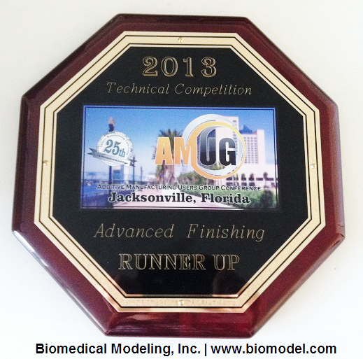2013 AMUG Technical Competition Runner Up Award to Biomedical Modeling, Inc.